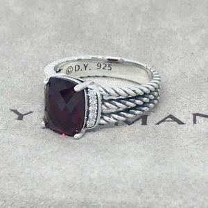 David Yurman Petite 10x8mm Garnet Diamond Ring